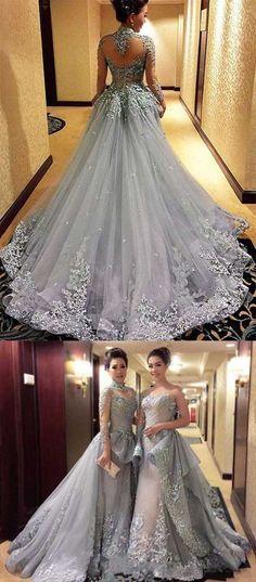 Princess Prom Dresses, Long Sleeves Prom Dress, Tulle Evening Dress, Gray Evening Dresses, Long Formal Dresses,90407 by Dress Storm, $349.00 USD