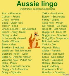 Lingo Dump, Slang for the Masses. Australian Memes, Aussie Memes, Australian Accent, Australian English, Australian Recipes, Australian Sayings, Australian Dictionary, Australian Party, Australian Icons