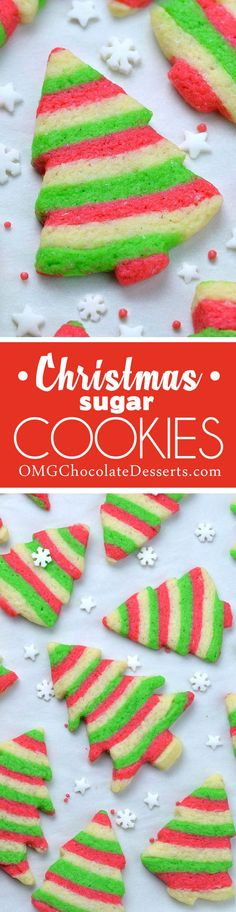 Christmas Sugar Cookies are perfect holiday treat. Cute Christmas trees in traditional Christmas colors (red, white and green) is really fun and festive treat that everyone would rave about it.