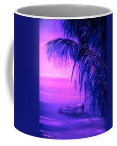 Tropical Coffee Mug featuring the painting Boat At Sunset by Faye Anastasopoulou Oil On Canvas, Canvas Prints, Fusion Art, Ocean Scenes, Sunset Colors, Mugs For Sale, My Themes, Pink Tone, Basic Colors