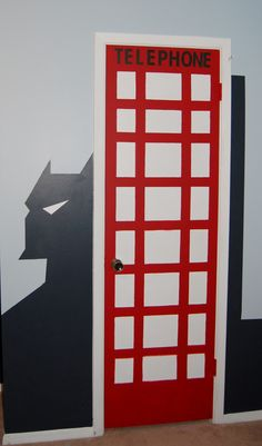 Superhero bedroom, telephone booth, DYI, Batman