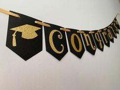 Congrats Banner, Graduation Banner, Black and Gold, Gold Graduation, Graduation Decor