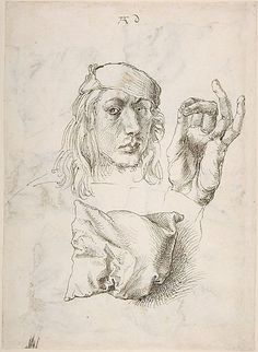 ART & ARTISTS: Albrecht Dürer - part 1493 Self-portrait, Study of a Hand and a Pillow pen and brown ink x cm Metropolitan Museum of Art, New York Albrecht Durer, Drawing Sketches, Art Drawings, Portraits Illustrés, Hand Kunst, Renaissance Kunst, European Paintings, Wow Art, Italian Artist