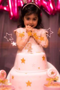 Birthday girl + Cake from a Twinkle Twinkle Little Star Birthday Party via Kara's Party Ideas KarasPartyIdeas.com (7)