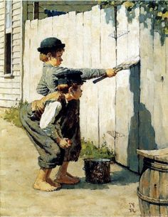 Norman Rockwell Tom Sawyer Whitewashing The Fence Art Print - 8 in x 10 in - Unmatted, Unframed
