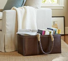 Leather Storage Tote #potterybarn I have two of these and Love them!