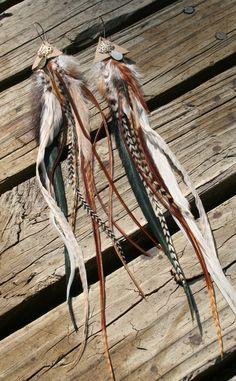 Robin Hood Elf Pixie Forest Sprite Feather & Leather Earrings / festival hippy hippie boho bohemian gypsy nomad tribal. $35.00, via Etsy.