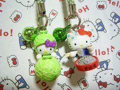 GOTOCHI HELLO KITTY JAPAN Region Tiny Figure Mascot Strap SET Sanrio SALE 7c : *condition* Unused (NO package, NO tag) Released by Sanrio JAPAN in 2005 (the right one). The left one, can't see the year, sorry (^^;). 18.99-24.99 (3.80/3.90/4.90)