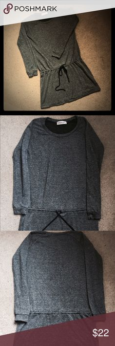 """Veronicam. Drawstring Athleisure Dress Veronicam. Drawstring Athleisure Dress in dark heather gray with black drawstring waist. Long sleeve, raglan sleeve and slight scoop neck. Lightweight soft cotton/ synthetic blend with some stretch. Care label taken out (itchy) but can be washed in delicate cycle. Bust approx 38"""". Waist laying flat approx 38"""". Length from shoulder approx 24"""". Veronicam. Dresses Long Sleeve"""