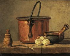 Jean-Baptiste Simeon Chardin  |  Copper Cauldron with Three Eggs