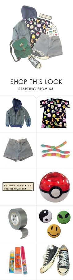 """""""Gotta Catch 'Em All"""" by alltimegabi ❤ liked on Polyvore featuring Urban Outfitters, American Apparel, INC International Concepts, FRUIT, Endless, Sharpie, Bonne Bell, Sony, Converse and 90s"""