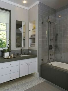 it has many components in a similar space easier clean sink tubshower small bathroom