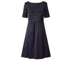 Orla Kiely: Short sleeved dress in cotton blend fabric with slight stretch. The dress sleeves can be worn down or with turn up. The bodice is fitted and has flap pockets feature. The skirt has a gathered section at front with hidden pleats. The fabric has a slight sateen finish with all over ditsy 'Baby Rhino' print. Low V at back neck and zip to fasten.    Length: 36.2in (center back)