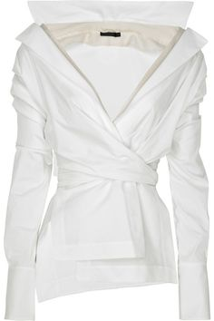 White Top with Unique Detail from Donna Karan on February 06, 2011 @ 18:00: Donna Karan white stretch cotton-blend long-sleeve wrap-around s...