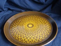 """Crown Lynn Forma Round Platter """"Sunburst"""" for sale on Trade Me, New Zealand's auction and classifieds website Platter, Dinnerware, Auction, Porcelain, Dish, Mid Century, Crown, Glass, Table"""