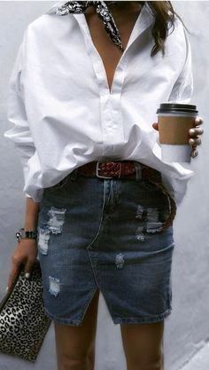 Distressed denim skirt with classic white button down and silk bandana