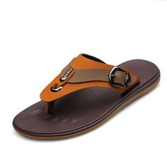 Find more sandals information about size 37 to 45 new fashion men shoes summer flip flops genuine leather casual beach flatform sandal sapatos color yellow Mens Fashion Shoes, Leather Fashion, Leather Men, Leather Slippers, Leather Sandals, Men Sandals, Beach Sandals, Flat Sandals, Mens Beach Shoes