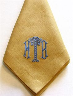 "the Monogram! Beautiful Cappuccino linen napkins with medium blue embroidered ""Lexy"" monogram. Custom sets can be made by contacting the shop. We have 200 linen colors, 180 embroidery thread colors, and 12 monograms Monogrammed Napkins, Personalized Napkins, Linen Napkins, Monogram Design, Monogram Styles, Monogram Fonts, Embroidery Monogram, Embroidery Designs, Linen Bedding"