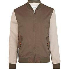 Khaki colour block bomber jacket - coats / jackets - sale - men