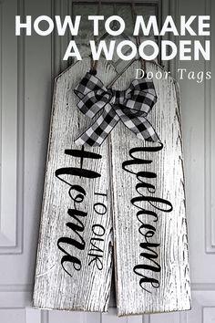 Wooden Door Signs, Wooden Tags, Diy Wood Signs, Wooden Doors, Scrap Wood Projects, Diy Pallet Projects, Woodworking Projects Diy, Wooden Crafts, Wooden Diy
