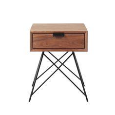 Table de chevet vintage avec tiroir en noyer massif L 37 cm