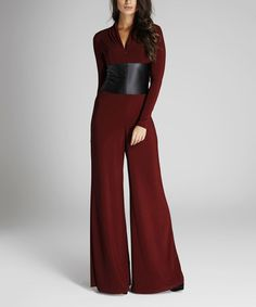 Another great find on #zulily! Burgundy Zip-Front Jumpsuit #zulilyfinds