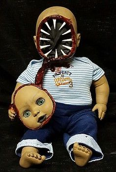 Zombie Baby Doll Big Mouth Horror Doll Halloween Haunted House Prop