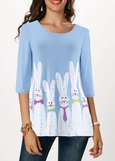 Easter Shirt For Women Rabbit Print Three Quarter Sleeve Easter T Shirt Easter T Shirts, Animal Print Outfits, Red T, Sexy Women, Trendy Tops For Women, We Are The World, Short Sleeve Blouse, Long Sleeve, Half Sleeves