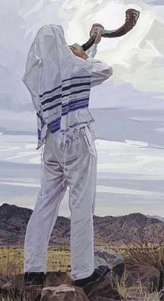 Blowing the Shofar. Done at very specific times of the year and/or services. EX: Rosh Hashanah (Jewish New Year), Yom Kippur (holiest Day of Atonement) ISRAEL Yom Teruah, Yom Kippur, Jewish History, Jewish Art, Arte Judaica, Jewish Calendar, Messianic Judaism, Prophetic Art, Rosh Hashanah