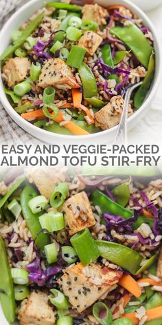 This tofu rice stir-fry is perfect for an easy and comforting weeknight dinner. It& ready in thirty minutes, vegan and gluten-free! Tofu Recipes, Vegan Recipes Easy, Lunch Recipes, Whole Food Recipes, Vegetarian Recipes, Dinner Recipes, Kid Recipes, Free Recipes, Bowls