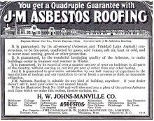 Johns-Manville Asbestos Roofing - Quadruple Guarantee