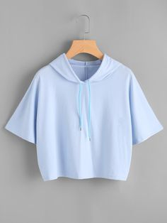 To find out about the Hooded Drawstring Tee at SHEIN, part of our latest T-Shirts ready to shop online today! Girls Fashion Clothes, Teen Fashion Outfits, Outfits For Teens, Girl Outfits, Crop Top Outfits, Cute Casual Outfits, Cute Crop Tops, Teenager Outfits, Cute Shirts