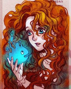 I was sketching Merida and then I got to thinking that the will o' wisps reminded me of blue Calcifer and I couldn't get them out of my head... so here's a crossover . by qinniart You can follow me at @JayneKitsch