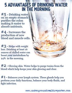 It has long been known that drinking #water first thing in the morning on an empty stomach purifies the body's internal system. An especially important result of this treatment is that it #cleanses the colon, which makes the body much more able to absorb #nutrients from food.