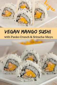 This Vegan Inside-Out Sushi Roll filled with mango, seasoned panko, sesame and sweet & spicy sriracha-mayo is not only easy to make but also incredibly addictive and utterly delicious! The perfect recipe to satisfy your next sushi craving! Vegan Appetizers, Appetizer Recipes, Mango Sushi, Sushi Sushi, Inside Out Sushi, Vegan Sushi Rolls, Sriracha, Vegetarian Recipes, Japanese Recipes