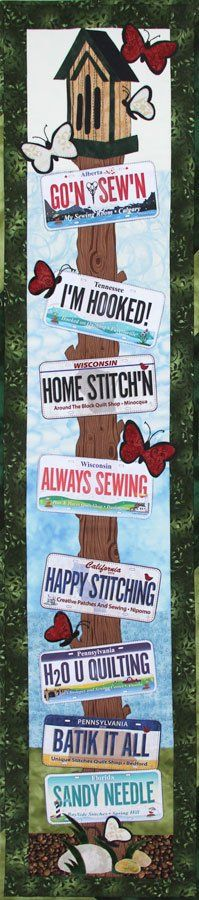 Patch Abilities Inc. Braggin Pole #1 - Butterfly House. Finish this project in One Day! Use the plates from your Row By Row Experience to complete this fun wall hanging!