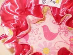 Drawstring Travel Jewelry Pouch / Satchel - Pink Butterflies with Hearts and Flowers and Pink Satin