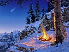 #Schnee, #Malerei, #Stern, #Nacht, #Landschaft, #Gebirge, #Winter, #Kiefer, #Fichte, #Feuer, #Darrell Bush, #Once in a Lifetime, #am späten Abend, #Sterne vom Himmel