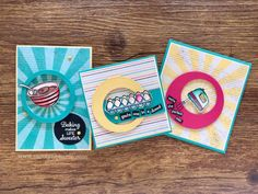 Hey, Happy Monday Stampers! Today I wanted to share with you a bunch ofretro and bright cards. I love these cards so much. Totally my thing. To be honest.. I'm not really a baker. I like to EAT the baking but my husband is the real baker in our family. He loves it. I think …