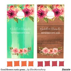 Shop Coral flowers rustic green brown wedding cornhole set created by EllenMariesParty. Green Brown Wedding, Green And Brown, Country Style Wedding, Rustic Wedding, Dahlia Flower, Flowers, Cross Beam, Cornhole Set, Outdoor Parties