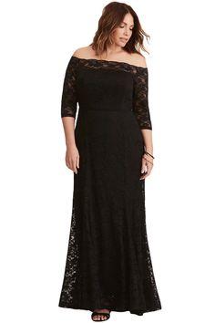 9c9a9b3700a Black Plus Size Lace Off Shoulder Party Maxi Dress. Dentelle FloraleFemmes  RondesEncolureRobe Soirée Grande TailleTaille ...