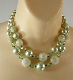 Bridesmaid dress jewelry? From Etsy-Mint Green Necklace Sugar Beads 2 Strand 50s by JellyBellyJewels, $14.98
