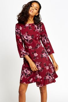 Wine Floral Swing Dress for £5 @ Everything5pounds.com