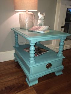 The perfect Turquoise blue, refinished using Miss Lillian's NO-wax chock paint!