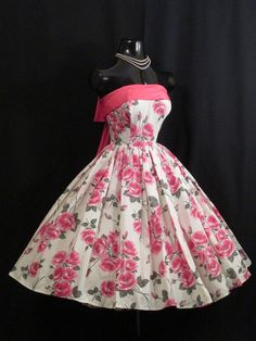 Vintage 50's 50s STRAPLESS Pink Roses Floral Taffeta Party PROM Wedding DRESS