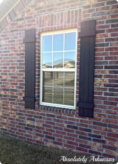 DIY Ideas | Get the tutorial to build and hang your own board and batten shutters. Four shutters only cost $64! That's pretty cheap for some serious curb appeal!