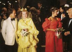 Prince Albert, Princess Grace,Princess Caroline and Prince Rainier at the Red Cross Ball.August 7,1981.