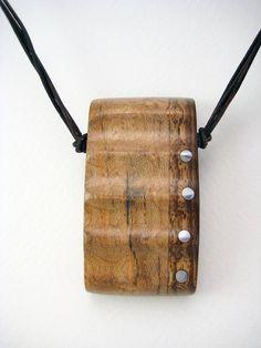 Handmade Carved Wood Pendant with Aluminum par RamshackleStudio