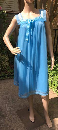 Vintage Peignoir Nightgown Nylon Blue Sailor Collar Henson Kickernick Sheer  Double Layered Negligee d311a165d