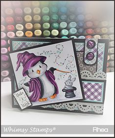 Crissy Armstrong Collection Penguin MagicThe Crissy Armstrong Collection for Whimsy Stamps. Deeply etched rubber mounted on cling cushion foam, untrimmed. Whimsy Stamps, Copic Markers, Copics, Halloween Cards, Cardmaking, Birthday Cards, Projects To Try, Paper Crafts, Ideas
